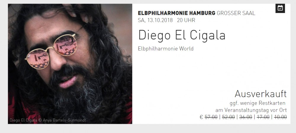 [Sold Out] Diego El Cigala ElbPhilharmonie Hambourg